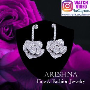 925 Rose Swarovski Crystals Luxury Earrings